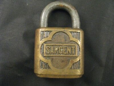 Vintage Antique Sargent Ornate Brass Padlock - Collectible Lock