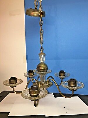 Antique 1950s Chandelier Cast  Brass Dressed With  GLASS CRYSTAL TRIM   4 light
