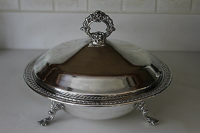 FB Rogers Silver CO Silverplate Round Serving Dish Bowl with Lid & Pyrex Insert