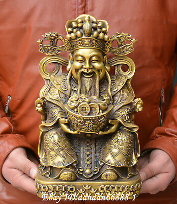 Collect China fengshui old Bronze dragon chair mammon money god lucky Statue