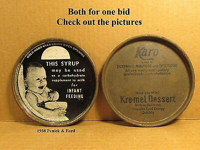 Two vintage tin can lids Karo syrup baby infant feeding 1938 Penick & Ford LTD