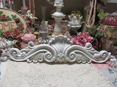ORNATE WHITE PEDIMENT, TOPPER, DISTRESSED, RESIN, Shabby Chic, Cottage Decor