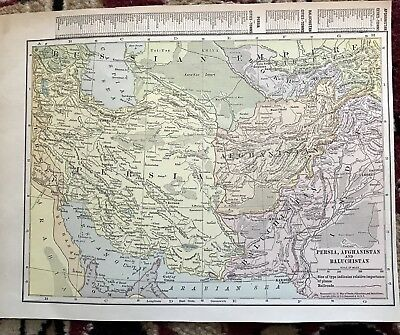 Vintage 1916 Map Persia, Afghanistan And Baluchistan Beautiful Graphics
