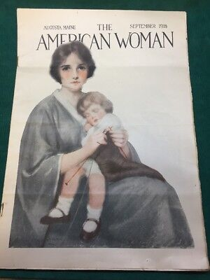 September 1918 The American Woman Magazine Mother & Child Vintage Americana