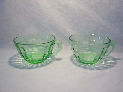 2 Vintage Anchor Hocking Block Optic Green Depression Glass Coffee / Tea Cups