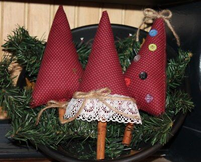 Primitive Trees Bowl Fillers Set of 3 Christmas Winter Prim Rustic Country Rusty