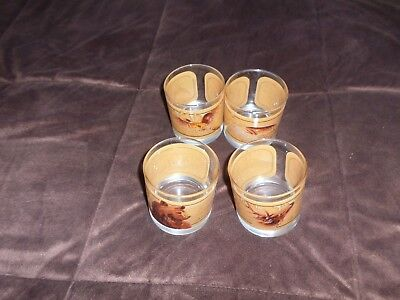 Vtg Avon WILDLIFE Barware Cocktail GLASSES Deer, Bear, Fish, Pheasant