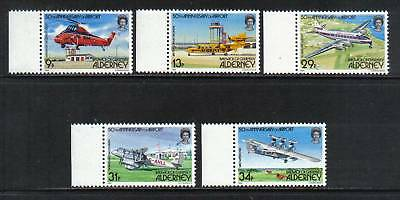 Alderney 1985 Airport 50th Anniversary--Attractive Airplane Topical (18-22) MNH