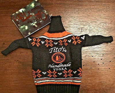 Tito's Handmade Vodka Ugly Sweater Promo Beer Bottle Coozie Cover