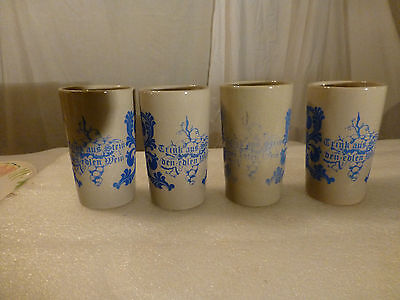 "German ""cochem - Burg Cohem"" Vintage Wine Mugs - Set Of 4"