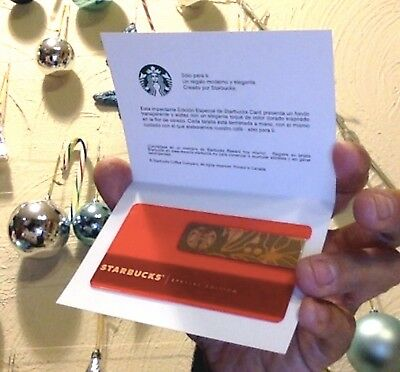 Starbucks Card DAY ONE Special Edition Mexico RED METAL WRAP 2017. Loaded +US$50
