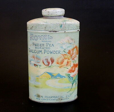 Antique vtg ROYAL Sweet Pea TALC TIN Art Nouveau Vanity Talcum Powder Bottle