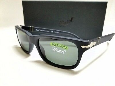 AUTHENTIC PERSOL PO3048S 900058 BLACK ANTIQUE/GREY POLARIZED 55mm SUNGLASSES