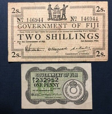 Fiji 1942:  2 Shillings and 1 Penny, Two VF and XF Banknotes