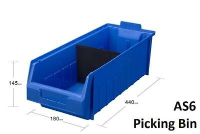 AS6 Pack of 10 VISIPLAS Picking Bins 440x180x145mm Blue
