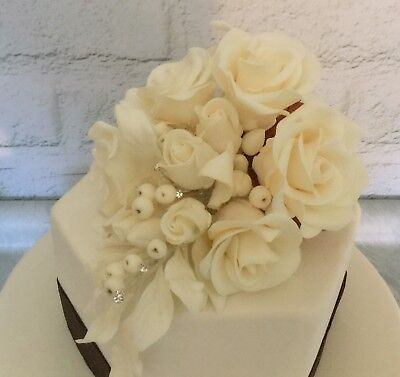 Ivory Rose/Diamanté Sugar Paste Flower Spray, Handmade Cake Decoration