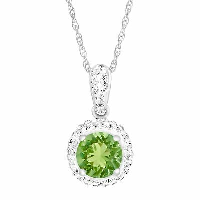 Crystaluxe August Pendant with Green Swarovski Crystals in Sterling Silver