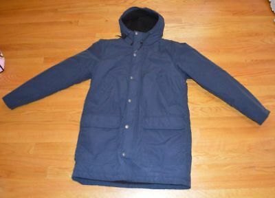 Abercrombie & Fitch Men's Sherpa Cotton Jacket NAVY Blue Size Small HOODED Parka