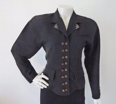 VINTAGE CUE DESIGN Black Jacket Early 80's Military Look Size 8