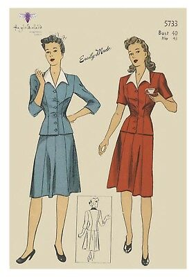 Vintage 1940/'s Sewing Pattern Day Skirt Suspenders Braises WW2 Wartime Waist 24/""