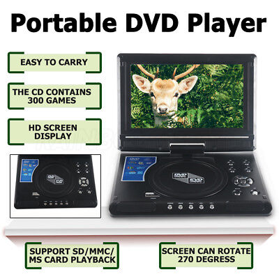 "2018 9.8"" mini Portable DVD Player CD EVD MP4 MP3 JPG Swivel USB SD 300 GAMES AU"