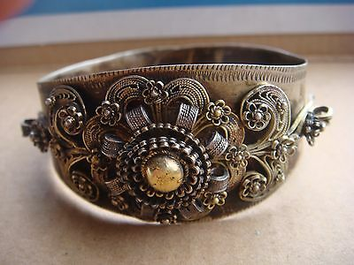Rrr Rare Antique Gilded Solid Silver  Filigree Bracelet Balkan Peninsula Region