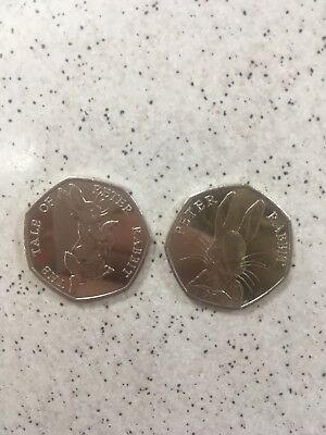 2 Peter Rabbit 50p's - both editions rare collecters coins Beatrix Potter