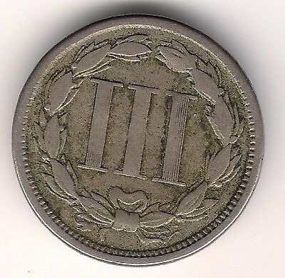US 1865 Three 3 Cents Nickel Coin, USA,America,American