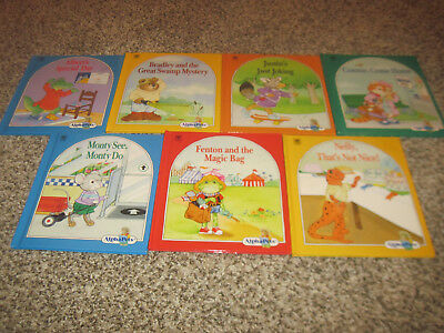 7 ALPHAPETS Books JUSTIN'S JUST JOKING NELLY THAT'S NOT NICE FENTON & MAGIC BAG