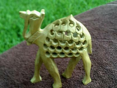 Hand Carved Indian Royal Camel Wood Jali Statue With Baby Inside -