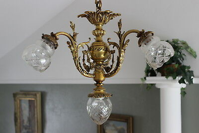 Antique French gilt bronze chandelier St Lambert hand cut crystal shades ca 1920
