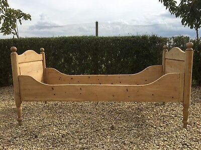 """Antique Pine Small Single Sleigh Bed  2'6""""  Frame Only No Slats"""