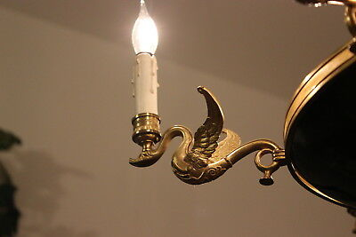 Antique French Empire style gilt brass 9 light swan black bowl chandelier 1920's