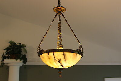 Antique French Alabaster bronze brass chandelier 1920's