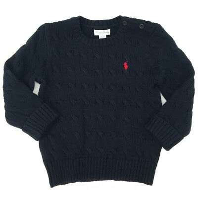 NEW Genuine RALPH LAUREN Navy Logo Cableknit Jumper Sweater Baby Boys 12 Months