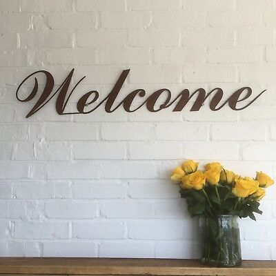 Rusted WELCOME Sign Metal Home bar Pub Vintage Wedding rustic cafe resturant