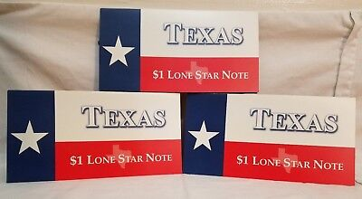A Set of Three One Dollar Star Notes Called the * Lone Star Notes * W / Folders
