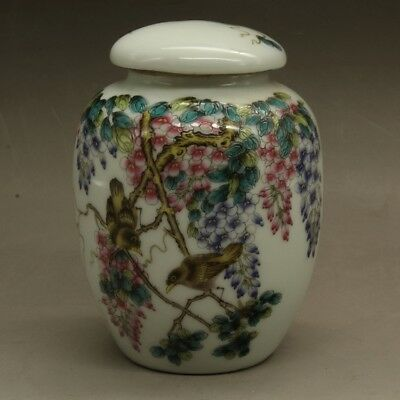 Chinese old hand-carved porcelain famille rose flower bird tea caddy