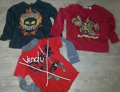 Lot Pull Transformers Et Sweat Ml Tete De Mort H Et M  2 - 4 Ans