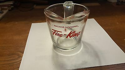 Fire King Anchor Hocking 1 Cup Red Letter Measuring Cup Open Handle