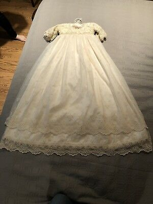 Neiman Marcus V&A Museum Silk Pearls Christening Gown w/ Bonnet/Booties/Slip New