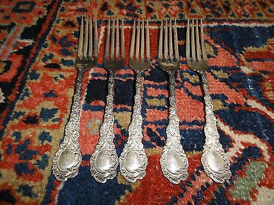 One of 5 Five Exquisite Ornate Silver RARE Wallace Sterling Louvre Fork(s) 1893