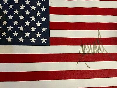 DONALD TRUMP AUTOGRAPH AMERICAN FLAG Signed @ Rally/Event*$75 TODAY ONLY.Reg $95