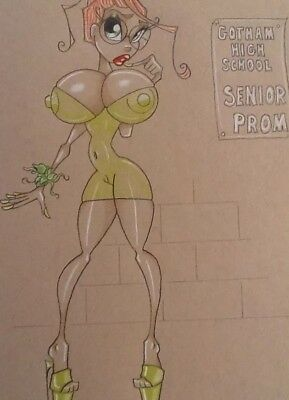 Poison Ivy Original Comic Art 9X12 Sketch Stef Wilson Batman Gotham School Girl