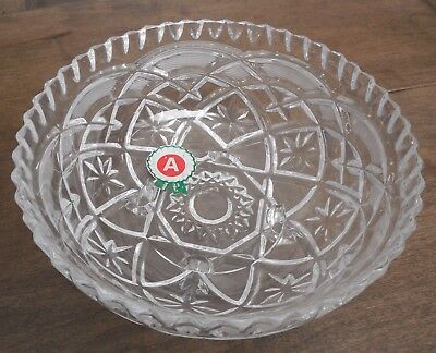 Lead crystal 6 inch 3 in. high four foot round bowl ITALY Vintage Glass Hand Cut