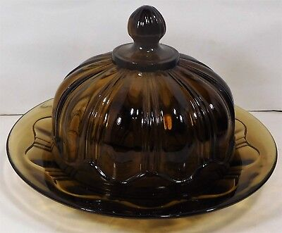 Vintage !!  Amber Glass Butter Dish & Cover