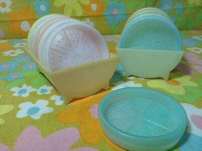 2 Vintage Sets Of 6 Pastel Tupperware Coasters With Wagon Wheel Tray Caddy