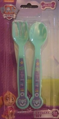 BPA FREE  Paw Patrol Childrens Childs Cutlery Set Fork Spoon TV - Baby TURQUOISE