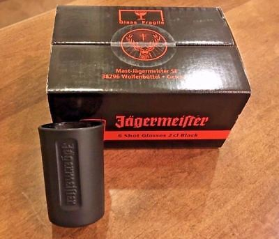 Lot of 6 (1 BOX) - Jagermeister Shot Glasses Limited Edition Black Germany - NEW