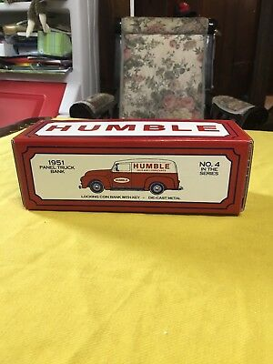 1951 Humble Oil And Luricants Panel Truck Bank, Die Cast Metal